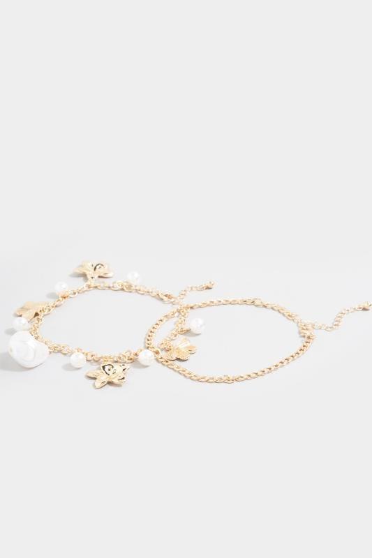 Gold Butterfly Floral Charm Bracelet