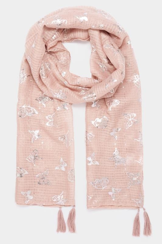 Blush Pink Foil Butterfly Scarf