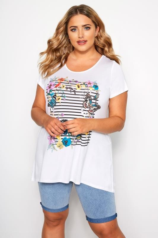 Plus Size T-Shirts SIZE UP White Striped Butterfly T-Shirt
