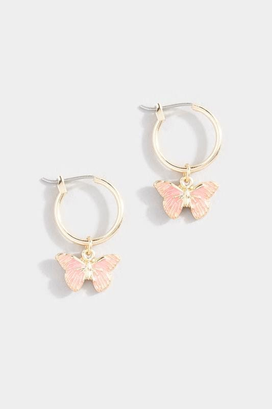 Plus Size Earrings Gold Butterfly Drop Hoop Earrings