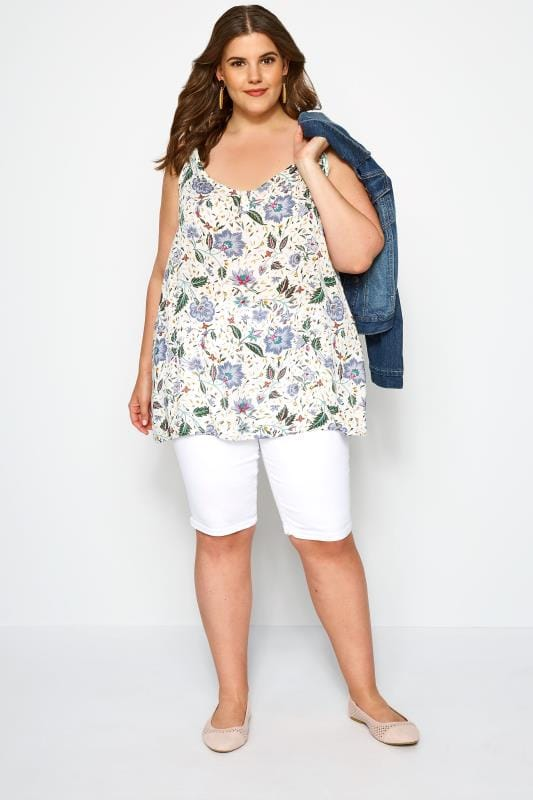 White & Blue Floral Print Button Cami