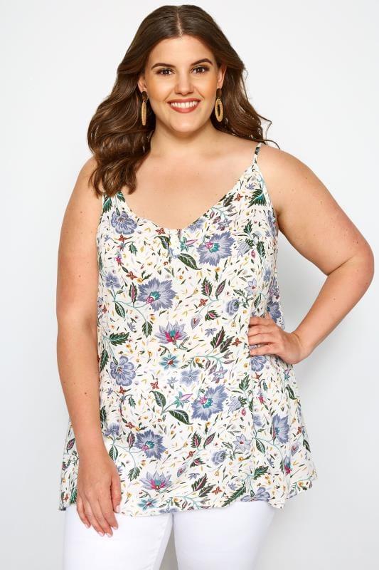 Plus Size Vests & Camis White & Blue Floral Print Button Cami