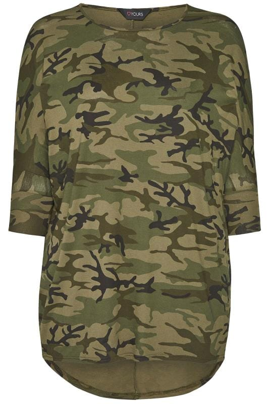 Plus Size T-Shirts Camo Print Extreme Dipped Hem Top