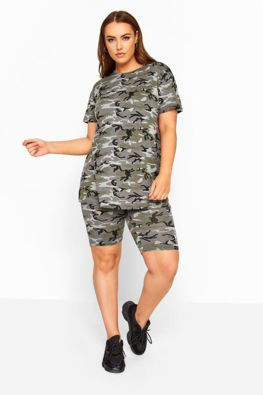 Plus Size Fashion Shorts LIMITED COLLECTION Khaki Camo Print Cycling Shorts