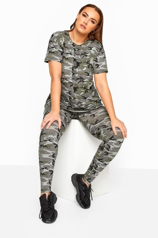 Plus Size Fashion Leggings LIMITED COLLECTION Khaki Camo Print Leggings