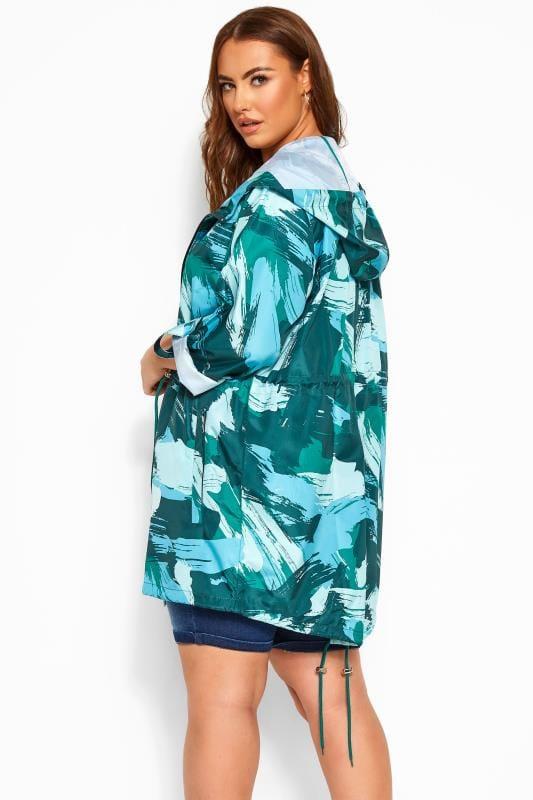 Green Camo Print Pocket Parka Jacket