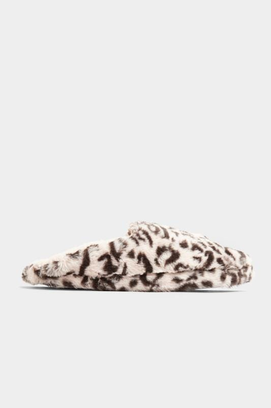 Pink Animal Print Vegan Faux Fur Mule Slippers In Wide Fit