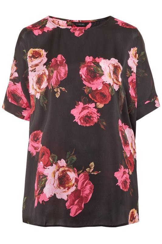 Blumen-Bluse im Cape-Stil - Schwarz/Rot