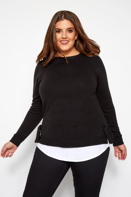 Plus Size Jumpers Black 2 in 1 Cashmilon Jumper