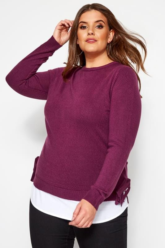 Plus Size Sweaters Berry Purple 2 in 1 Cashmilon Jumper
