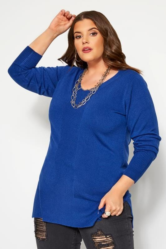 Plus-Größen Jumpers Cobalt Blue Cashmilon Jumper