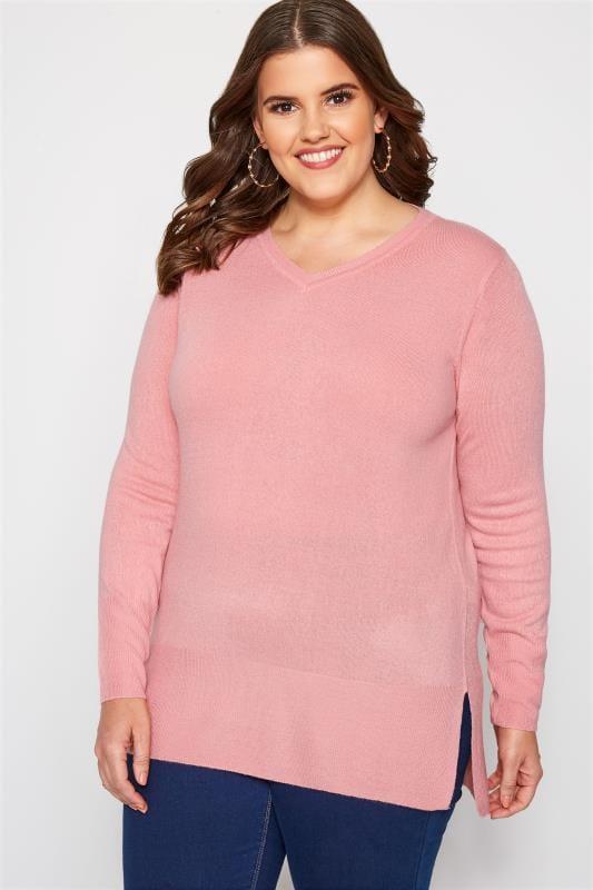 Plus Size Sweaters Pink Fine Knit Cashmilon Jumper