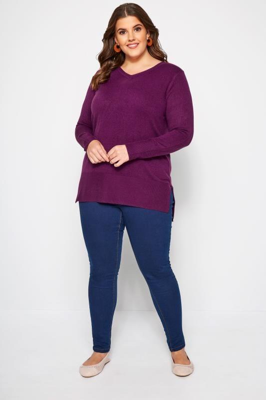 Purple Fine Knit Cashmilon Jumper