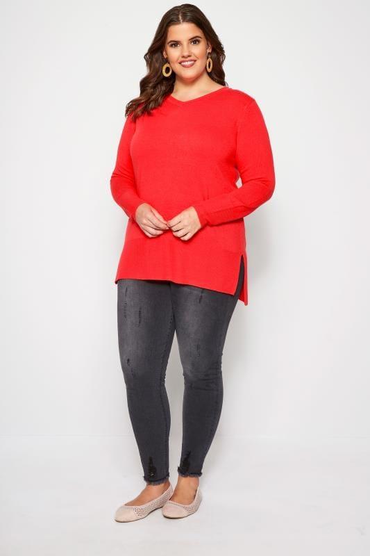 Bright Red Fine Knit Cashmilon Jumper
