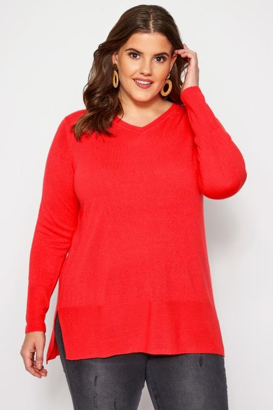 Plus Size Sweaters Bright Red Fine Knit Cashmilon Jumper