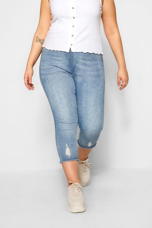 Cropped Jeans Tallas Grandes Bleach Blue Distressed Cat Scratch JENNY Cropped Jeggings