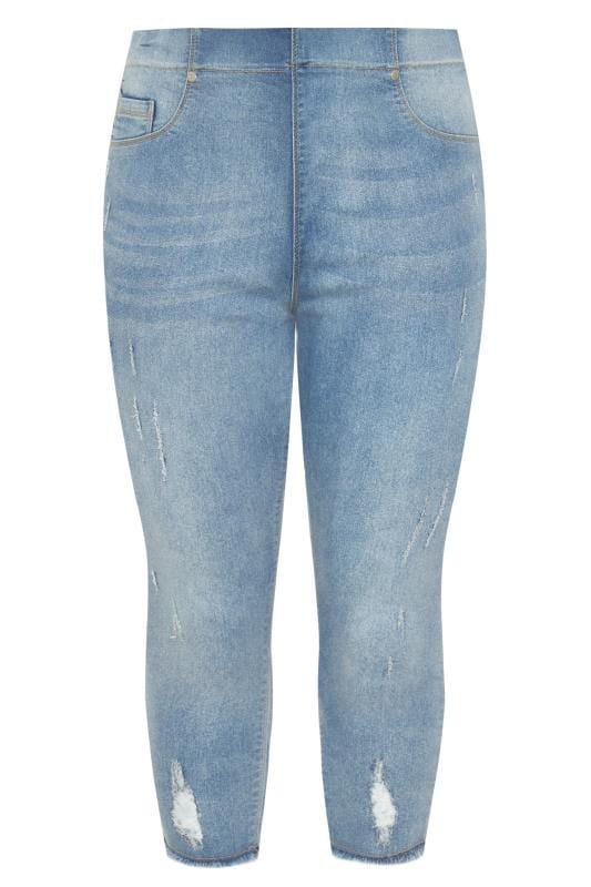 Bleach Blue Distressed Cat Scratch JENNY Cropped Jeggings
