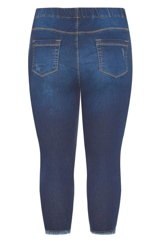 Indigo Distressed Cat Scratch JENNY Cropped Jeggings