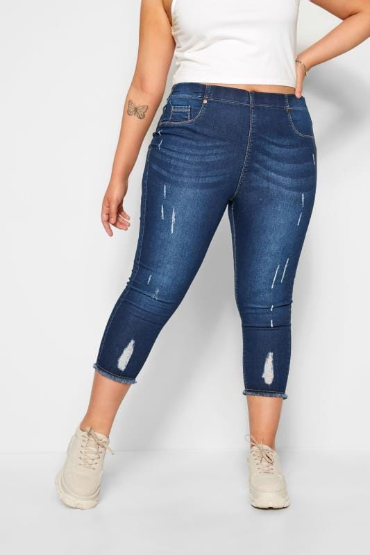 Plus Size Cropped Jeans Indigo Distressed Cat Scratch JENNY Cropped Jeggings