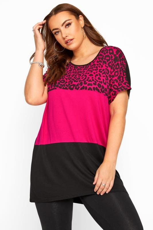 Plus Size Day Tops Pink Animal Print Colour Block Top