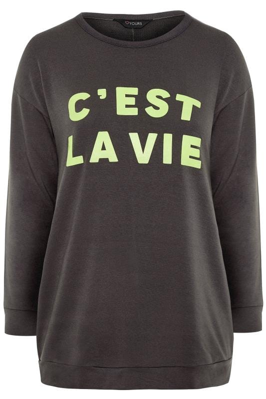 Charcoal Grey Neon Slogan Sweatshirt