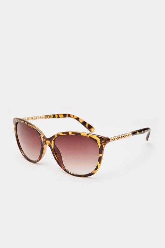Brown Tortoiseshell Cat-Eye Chain Sunglasses