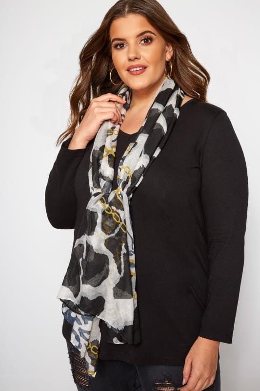 Plus Size Scarves Black & White Mixed Print Chain Scarf