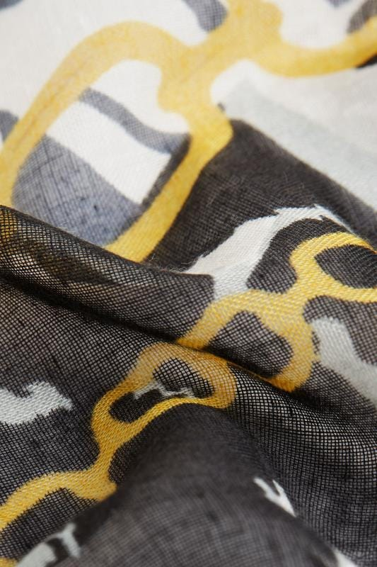 Black & White Mixed Print Chain Scarf