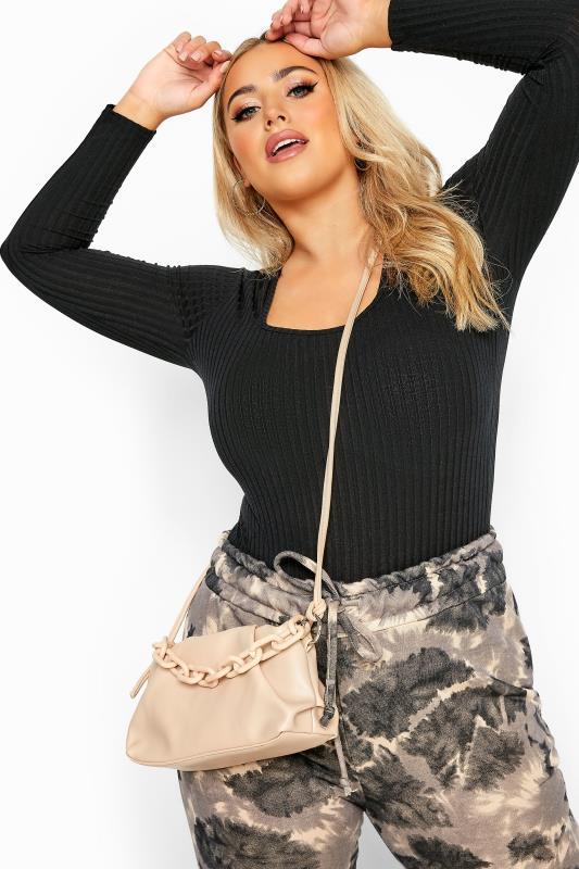 Nude Ruched Chain Shoulder Bag