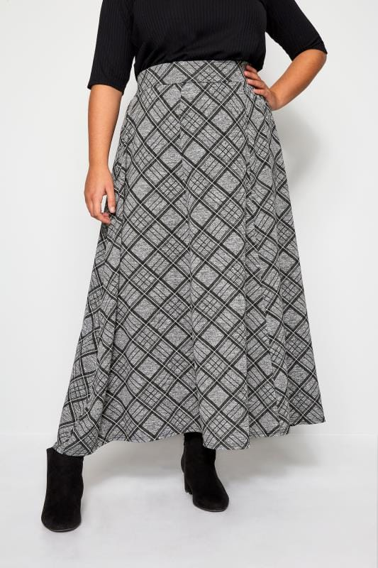 Plus Size Maxi Skirts Grey Check Maxi Skirt