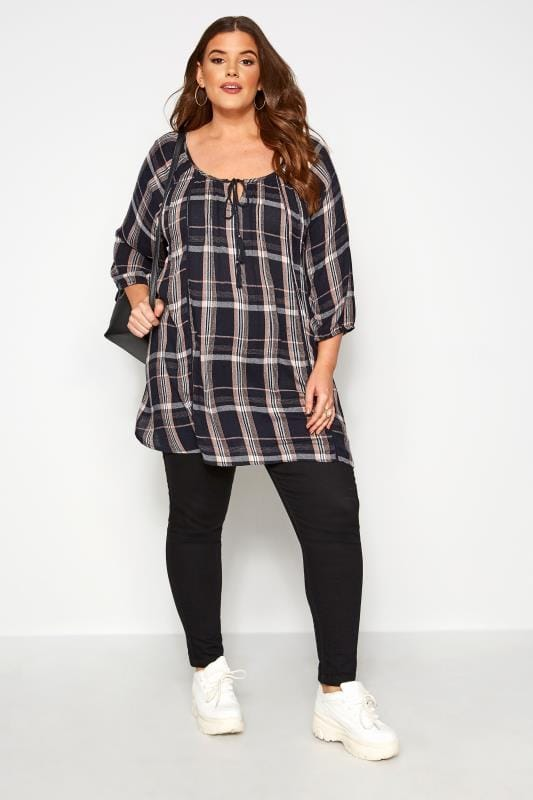 Plus Size Day Tops Navy Check Tie Neck Gypsy Top