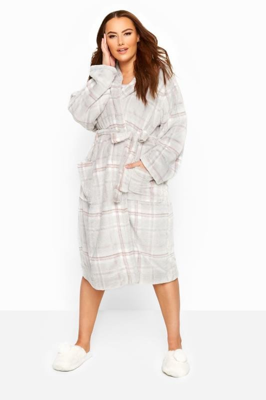 Plus Size Dressing Gowns Grey Check Hooded Dressing Gown