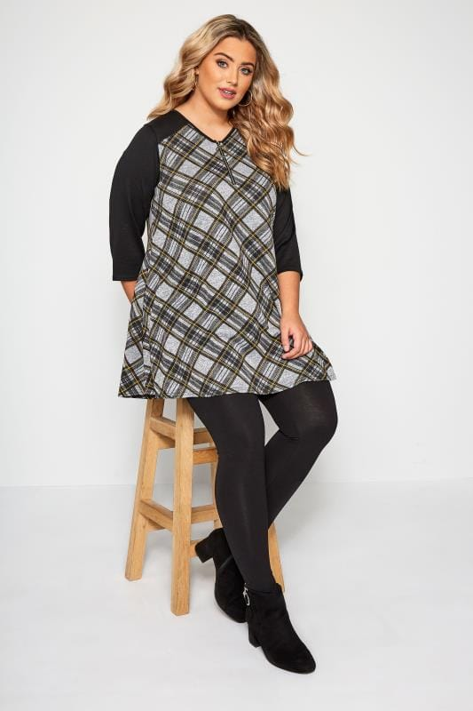Black & Grey Check Longline Top With Zip Front