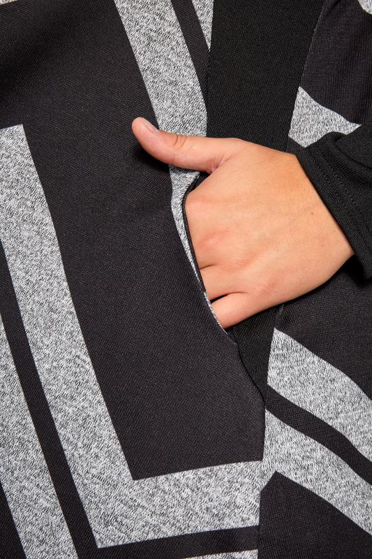 Black & Grey Chevron Print Longline Top