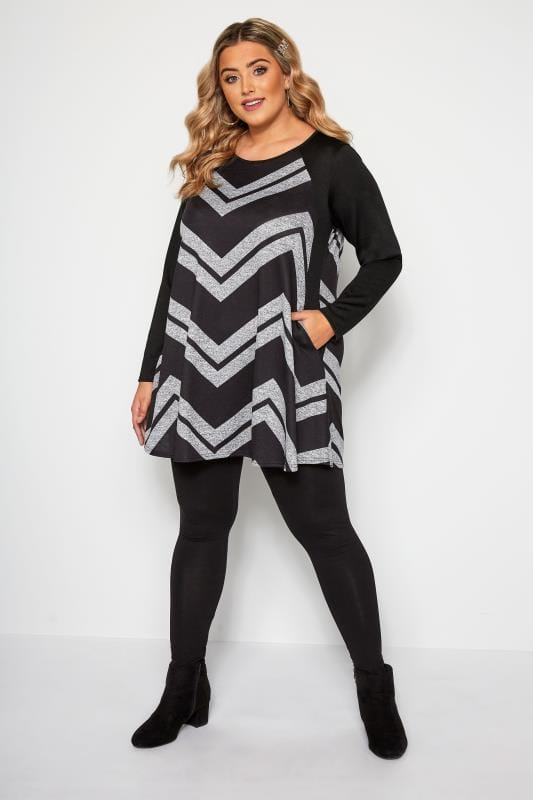 Black & Grey Chevron Print Longline Top