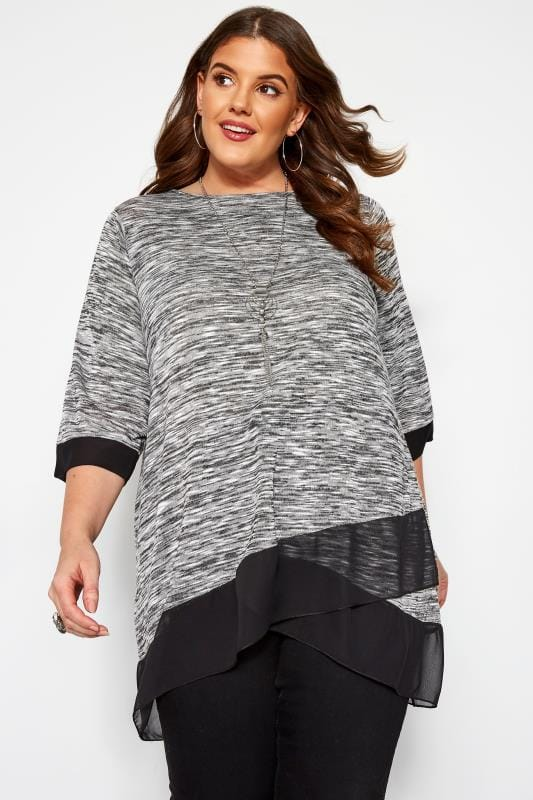 Plus Size Day Tops Grey Marl Double Layer Top