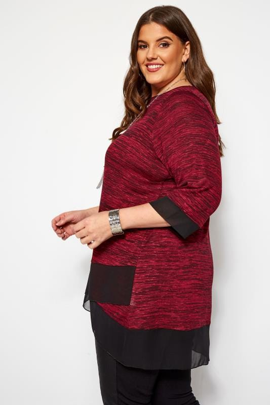 Burgundy Marl Double Layer Top