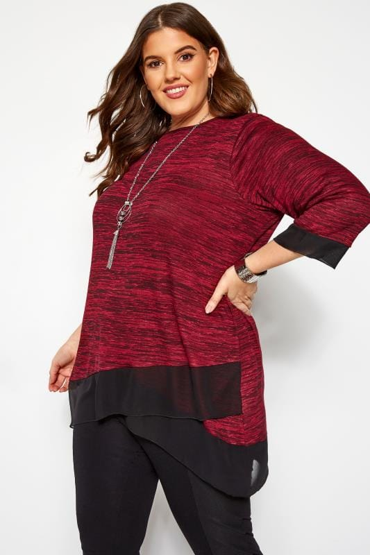 Plus Size Day Tops Burgundy Marl Double Layer Top
