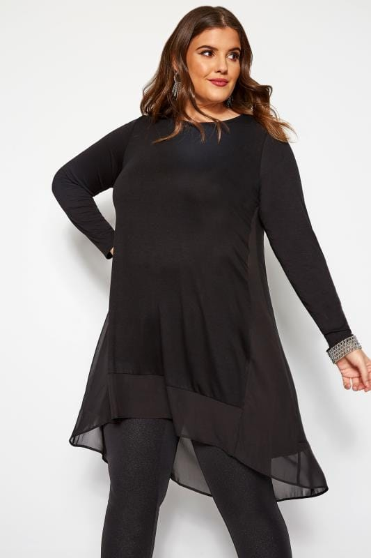 Plus Size Smart Jersey Tops Black Chiffon Godet Top