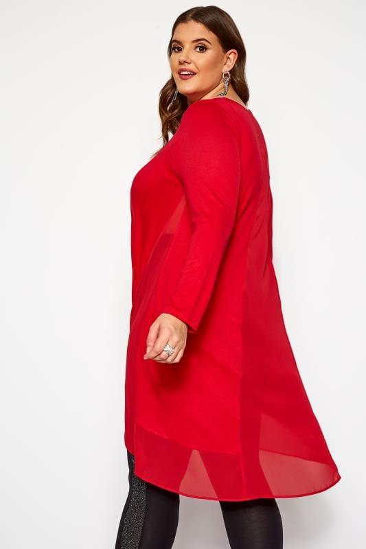 Red Chiffon Godet Top