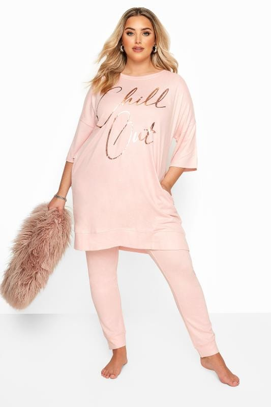 Pink 'Chill Out' Foil Slogan Lounge Top