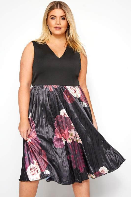 Plus Size Evening Dresses CHI CHI Black Floral Arden Dress