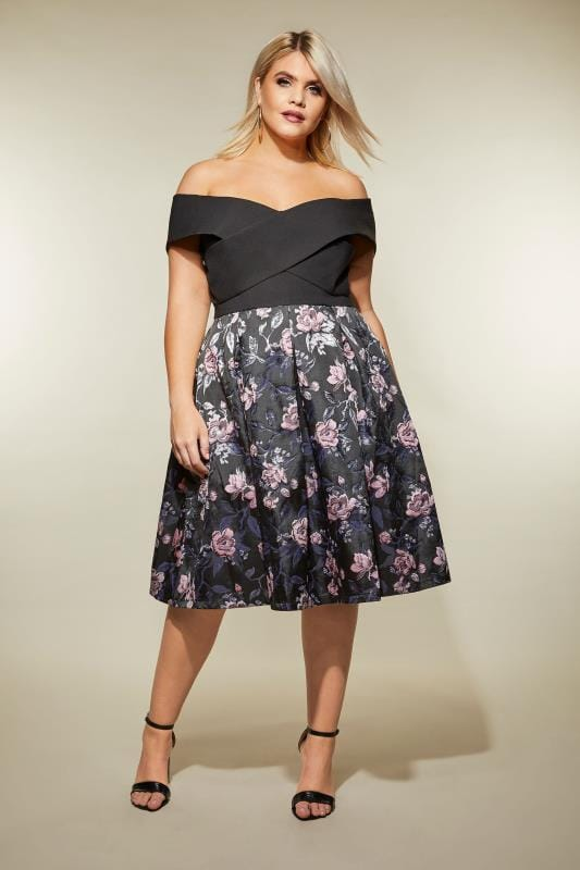 new product 30a20 ad466 CHI CHI Schwarzes Bardot-Kleid mit Blumenprint, Große Größen ...