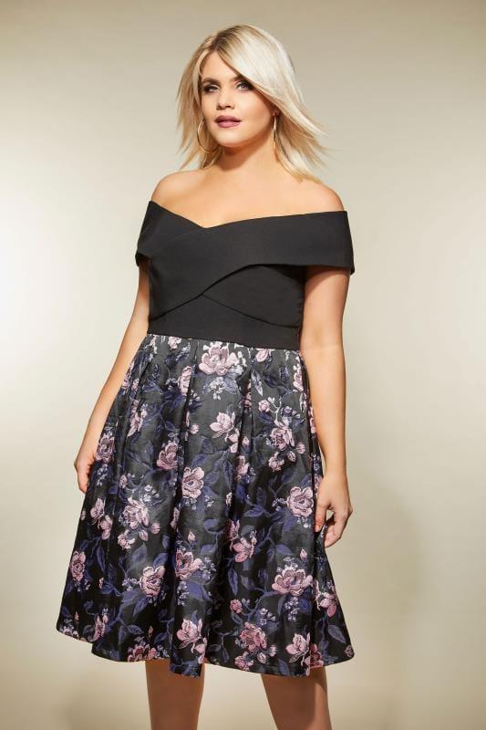CHI CHI Black Floral Bardot Dress