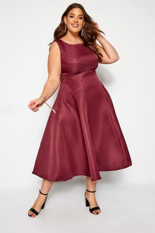 Plus Size Midi Dresses CHI CHI Burgundy Midi Prom Dress