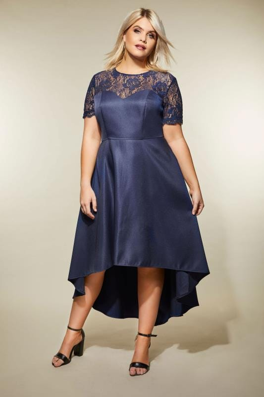 CHI CHI Navy Lace High Low Jasper Dress, Plus size 16 to 26