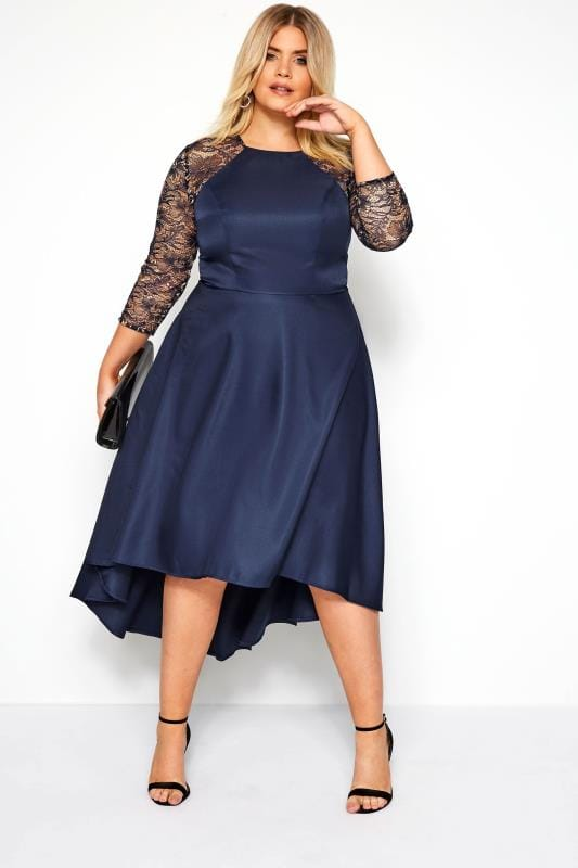 Plus Size Lace Dresses CHI CHI Navy and Gold Leena Dress