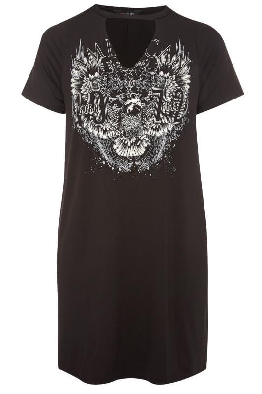 Black Rock Print Choker Dress