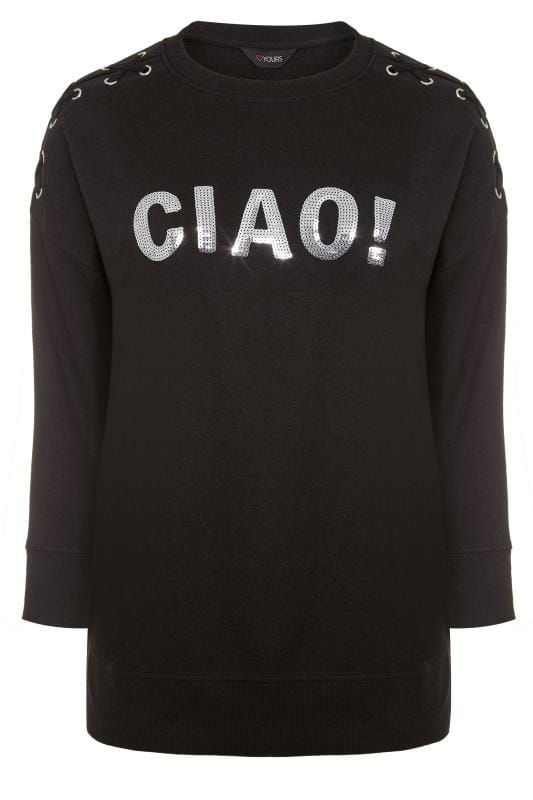 Black Sequin 'Ciao' Sweatshirt