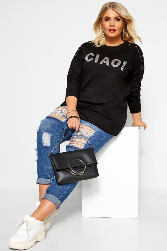 Plus Size Sweatshirts Black Sequin 'Ciao' Sweatshirt